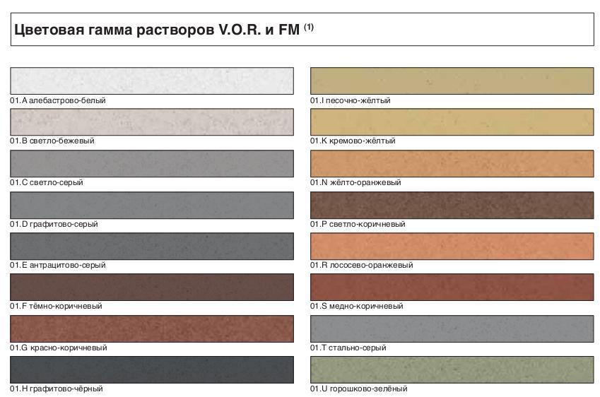 Цветовая гамма цветов кладочных растворов