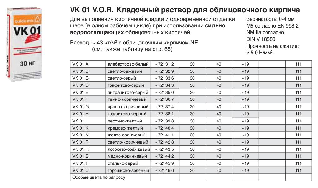 VK 01 V.O.R. кладочный раствор для облицовочного кирпича