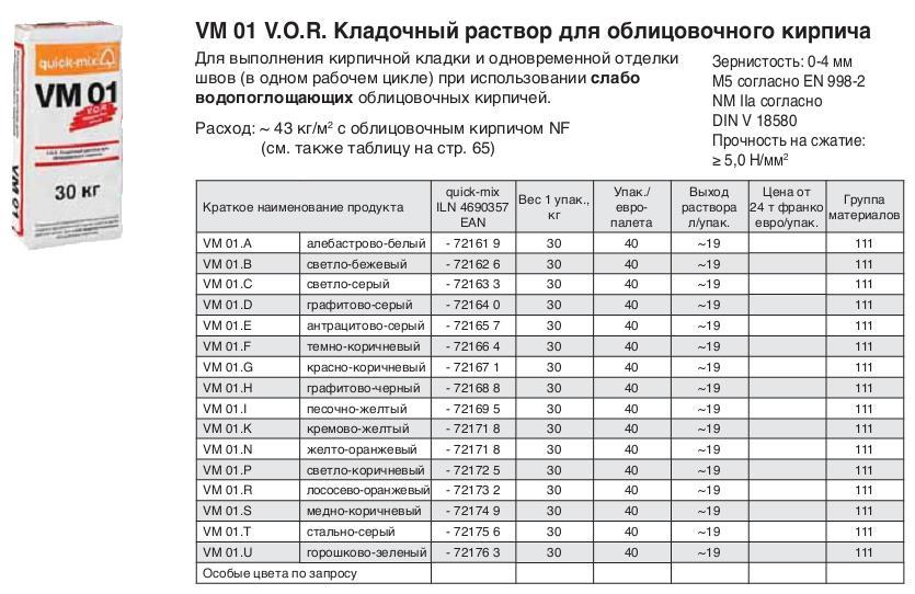 VM 01 V.O.R.  кладочный раствор для облицовочного кирпича